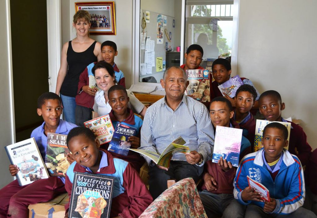 Thea Van Zyl (HORTGRO) And Tineke Mong (LCL Logistics) At Kathleen Murray Primary In Grabouw Where They Delivered Books.